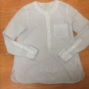 Women's madewell blouse size s white blue